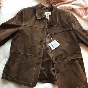 NWT L.L. Bean Suede Brown Jacket XL PETITE